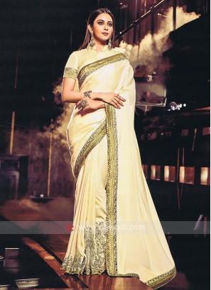 Rakul Preet Singh Art Silk Golden Cream Sari