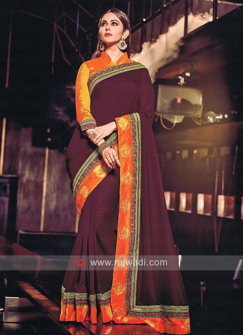 Rakul Preet Singh in Dark Magenta Saree