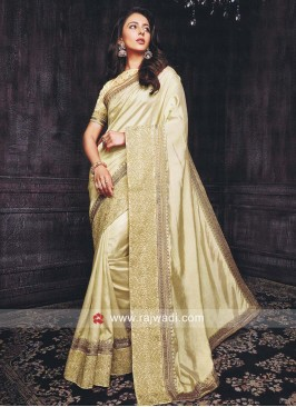 Rakul Preet Singh in Golden Cream Saree