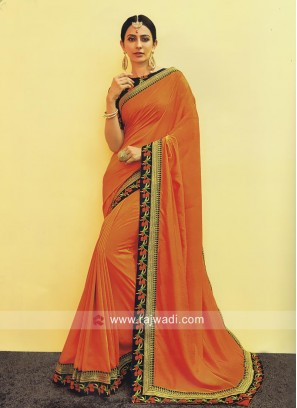 Rakul Preet Singh Orange Border Work Saree