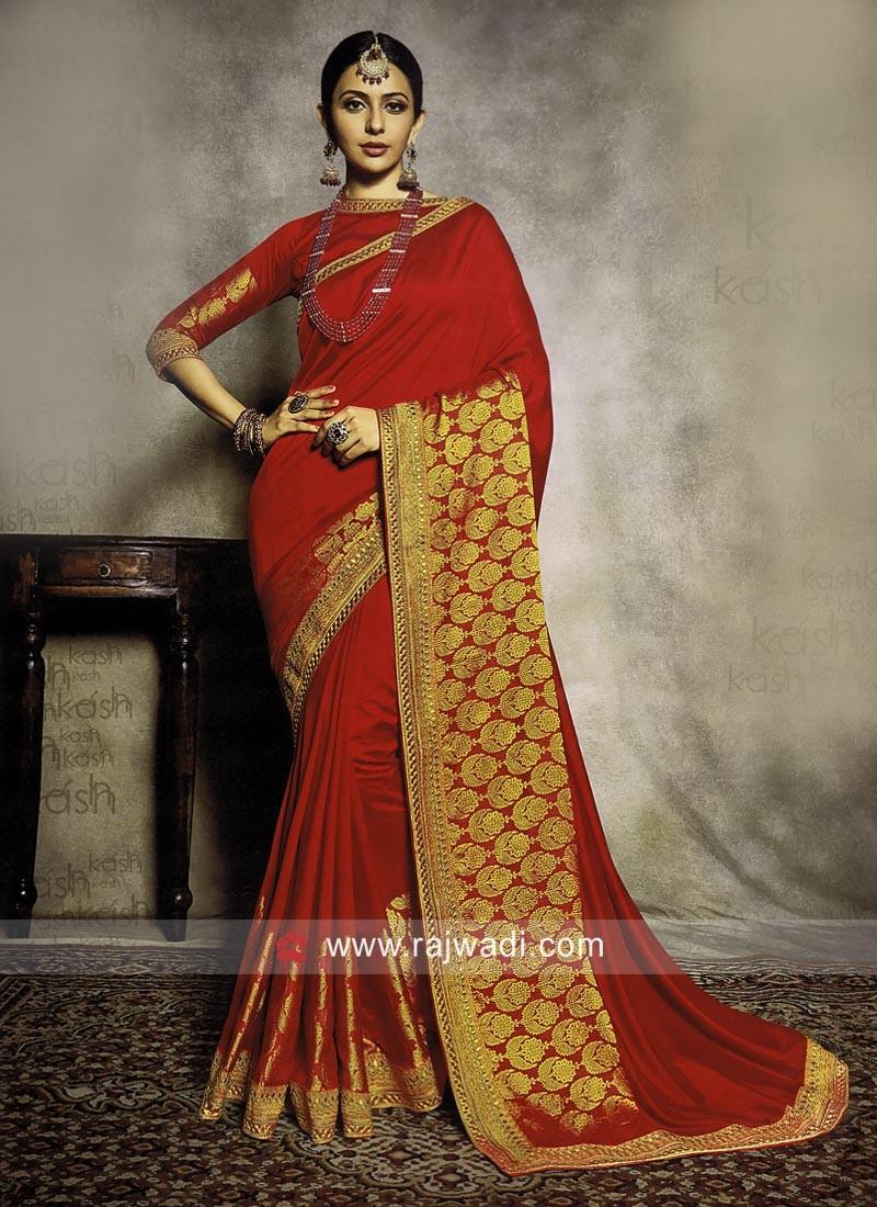 Rakul Preet Singh Wedding Saree in Red