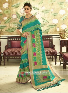 Rama and Pista green color banasari silk saree with rama green unstiched blouse.