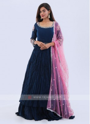 Rama blue anarkali suit