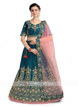 Rama Blue Banglori Silk Lehenga Choli