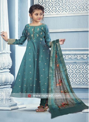 Rama blue color anarkali suit