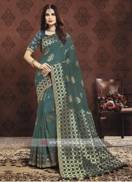 Rama Blue Color Banarasi Silk Saree
