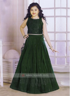 Bottle Green Color Choli Suit