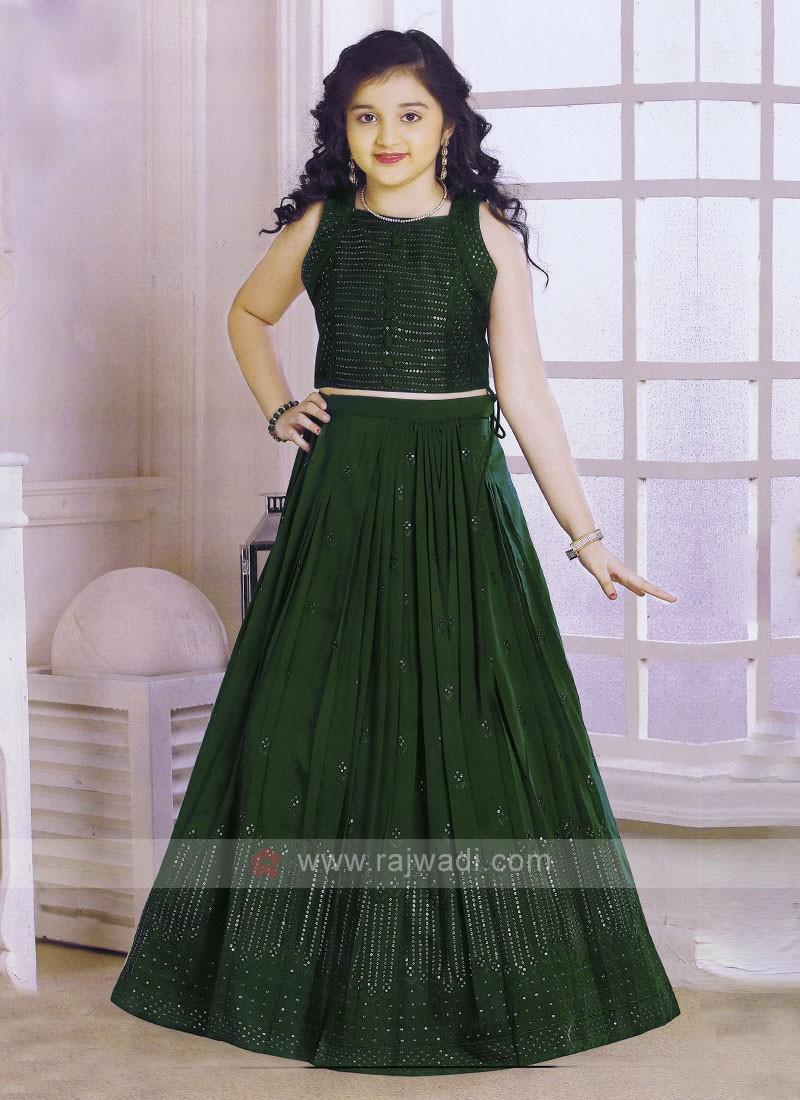 Bottle Green Color Choli Suit