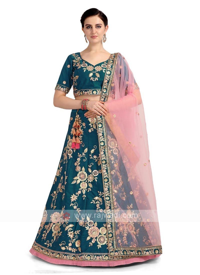 Rama Blue Color Lehenga Choli