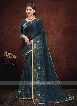 Rama Blue Color Satin Georgette Saree