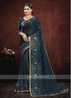 Rama Blue Color Satin Georgette Saree