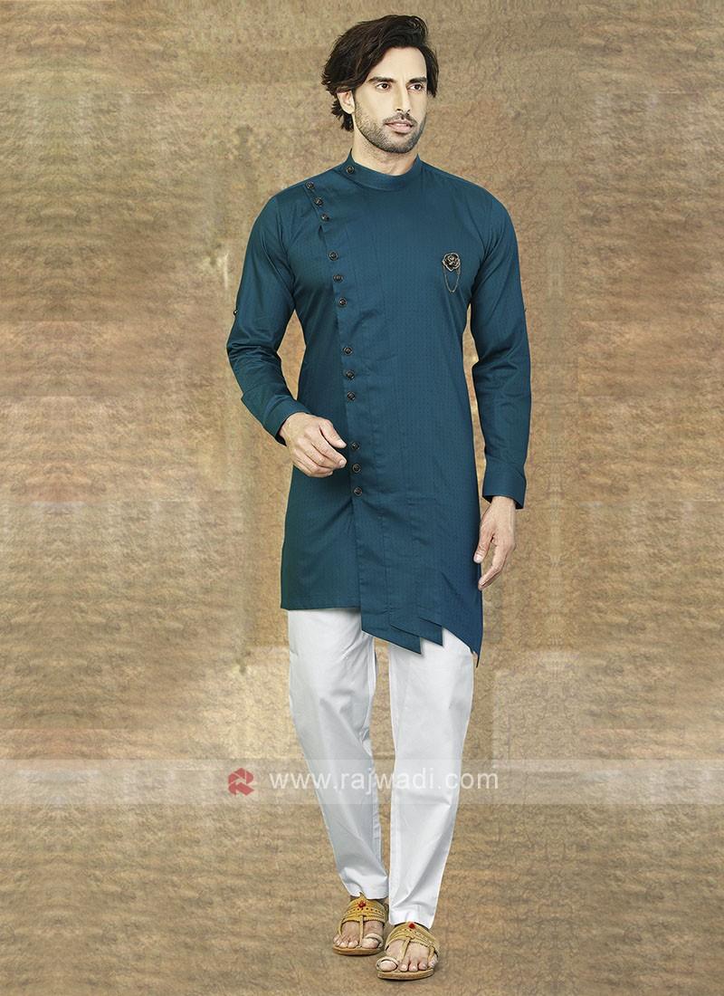 Rama Blue Cotton Kurta Pajama