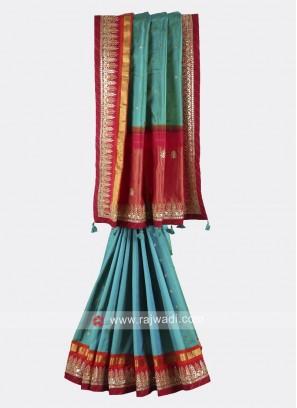 Rama green and crimson pure silk saree