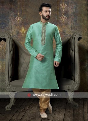 Rama Green And Golden Kurta Pajama