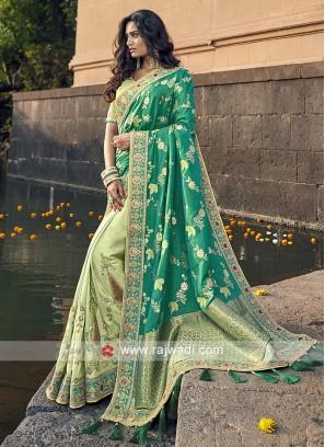 Rama green and pista green banarasi silk saree