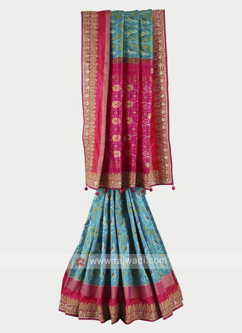 Rama green and rani color pure silk saree
