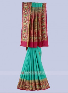 Rama Green And Rani Silk Saree.