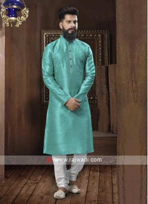 Rama Green And White Kurta Set