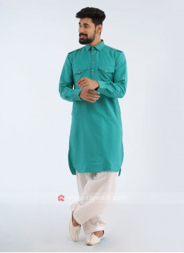 Rama Green And White Pathani suit