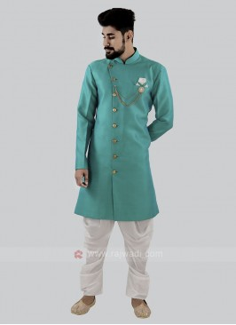 Aqua And White Patiala Suit