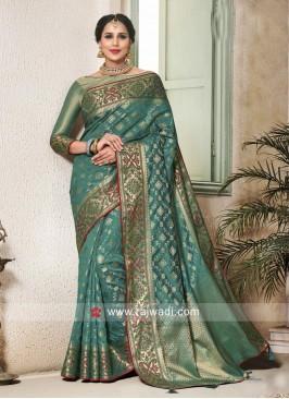 Rama Green Banarasi Silk Saree