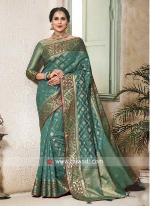 Rama Green Banarasi Silk Saree