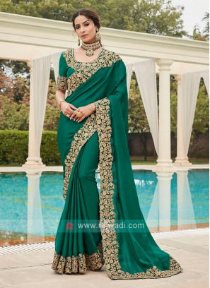 Rama Green Border Work Saree