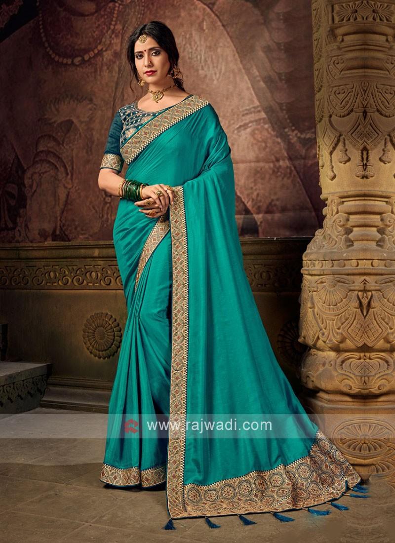 Rama Green Color Art Silk Saree