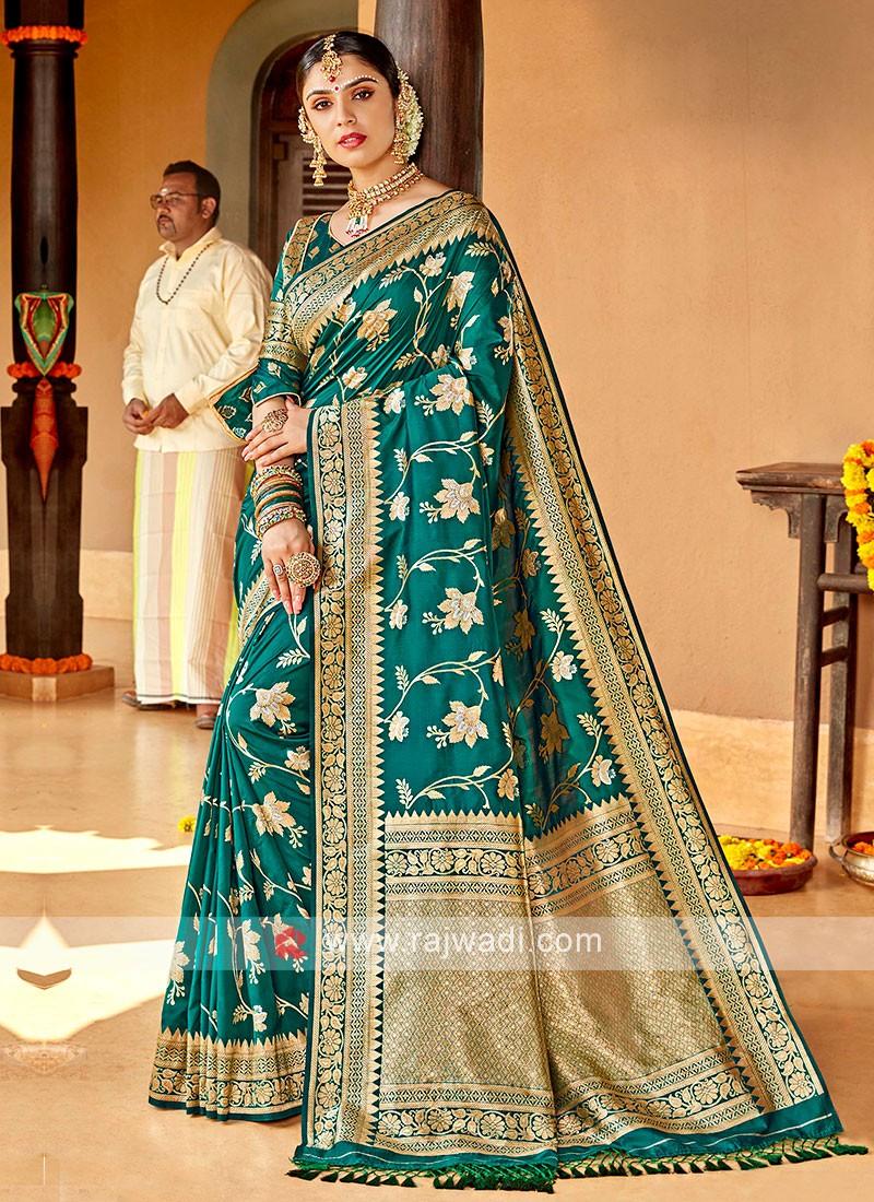 rama Green Color Banarasi Silk Saree