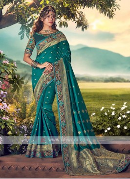 Rama Green Color Banarasi Silk Saree