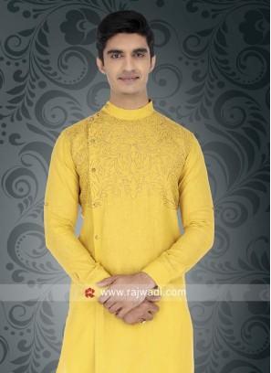 Yellow Round Neck Kurta For Wedding
