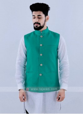Rama Green Color Nehru Jacket