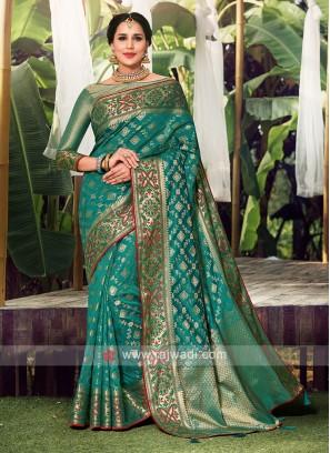 Rama Green Color Weaving Work Saree