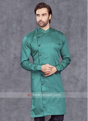 Rama Green Cotton Silk Kurta