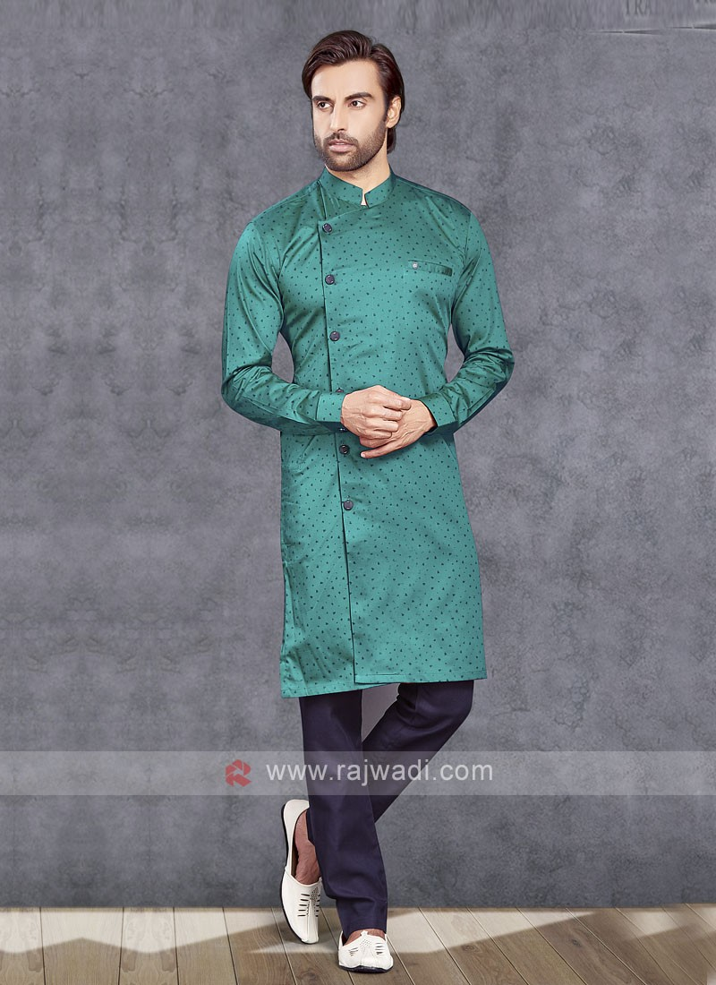 Rama Green Cotton Silk Kurta Pajama
