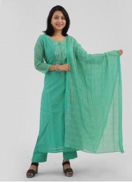 Rama Green Cotton Silk Salwar Suit