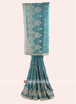 Rama Green Embroidered Saree