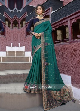 Rama Green Embroidered Saree