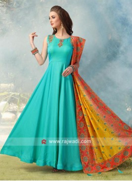 Rama Green Floor Length Anarkali Suit
