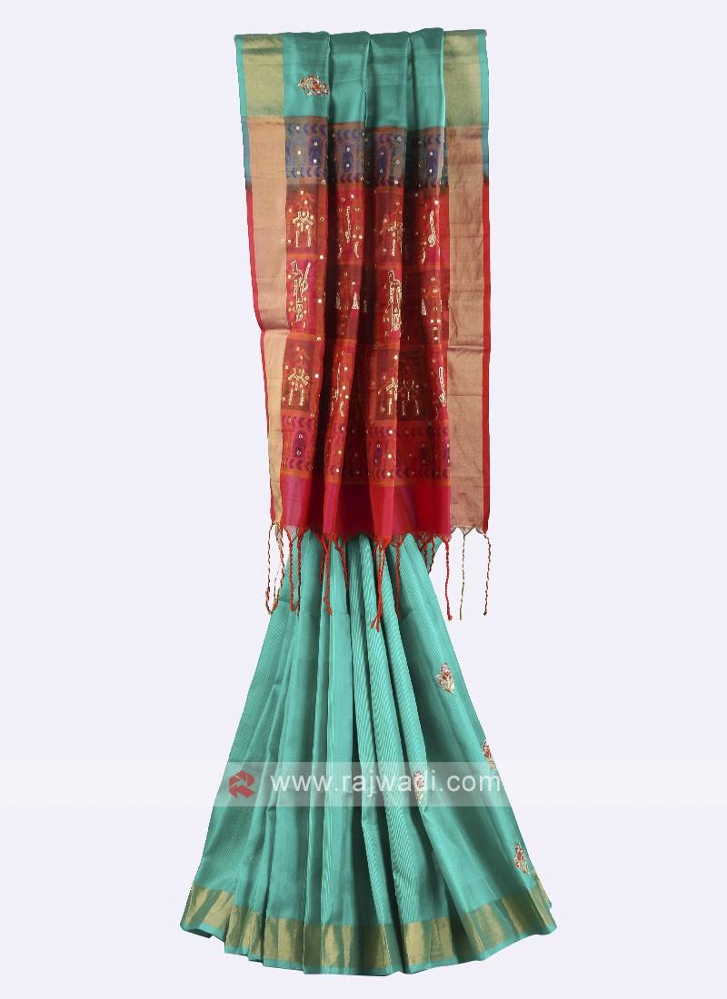 Rama green pure silk saree with blouse
