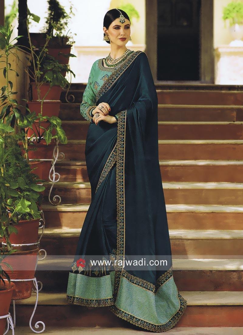 Rama Green Sari with Sea Green Blouse