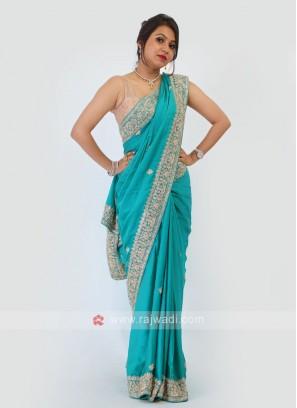 Rama Green Satin Silk Saree