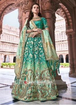 Rama Green Shaded Lehenga Choli