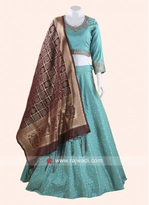 Rama Green Silk Embroidered Choli Suit