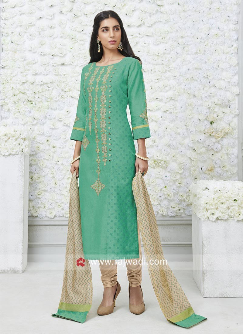 Rama Green Straight Fit Salwar Suit