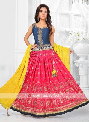 rani and blue lehenga choli
