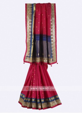 Rani and dark blue color pure silk saree