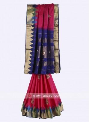 Rani and dark blue color pure silk saree