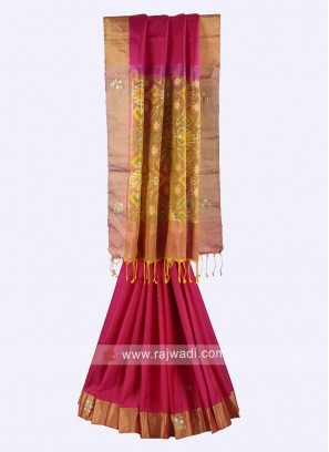 Rani and goldenrod pure silk saree
