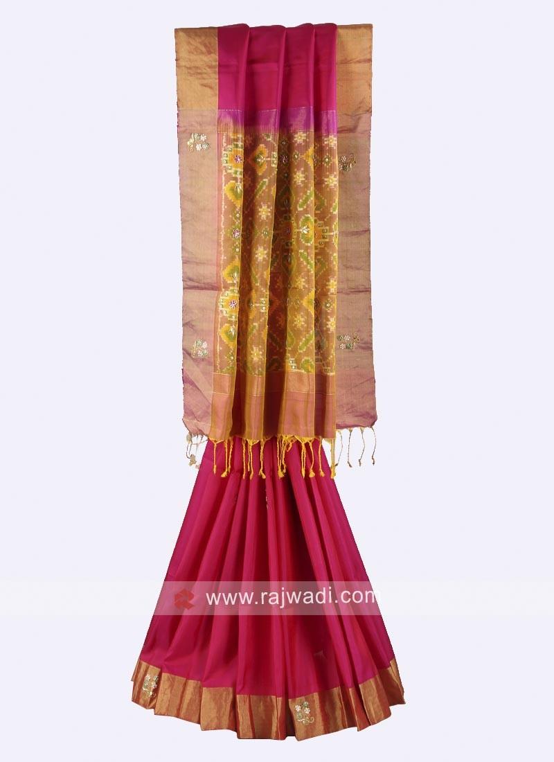 Rani and goldenrod pure silk saree